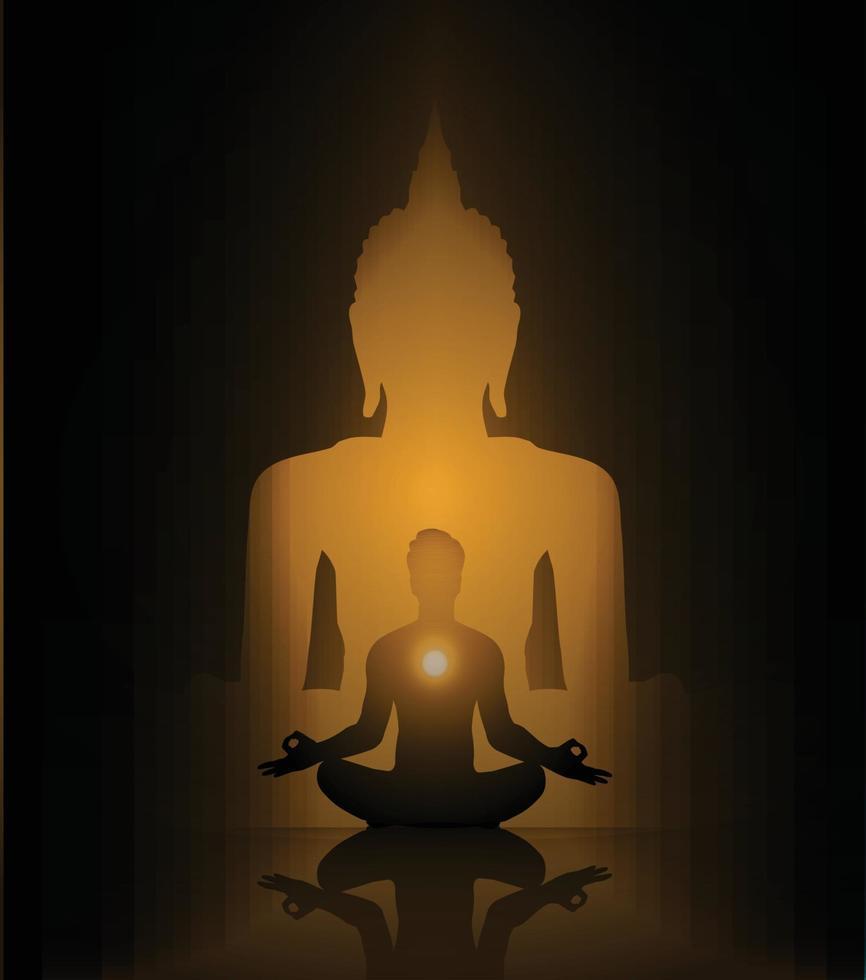 Black Buddha silhouette against Dark background. yoga vector