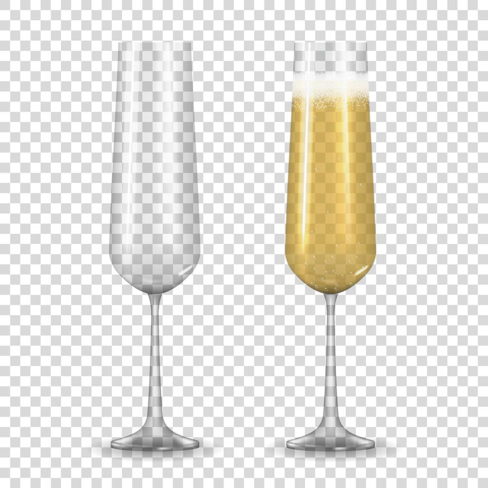 Realistic 3D champagne Golden Glass isolated on transparent vector