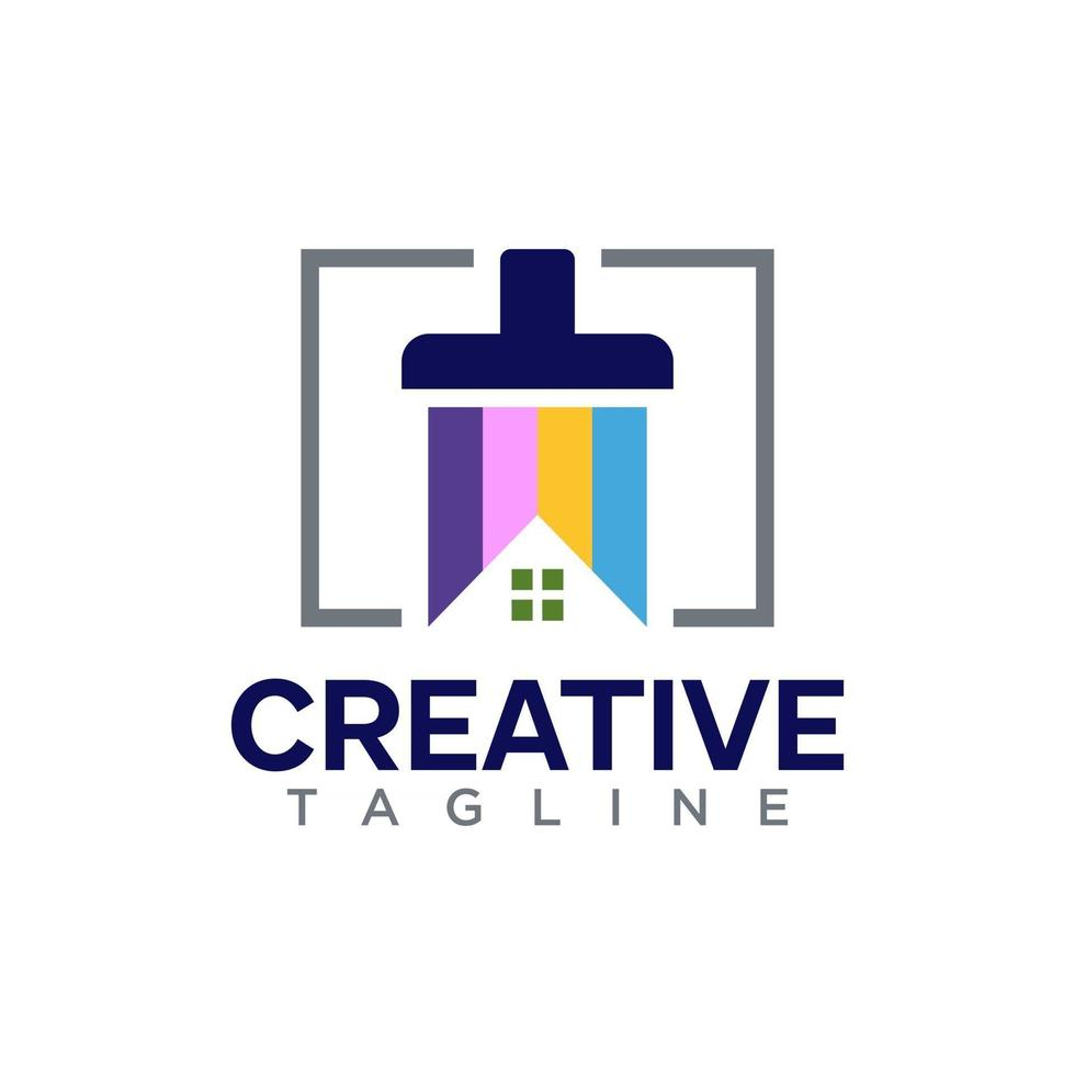 Real estate logo with paint concept design vector free