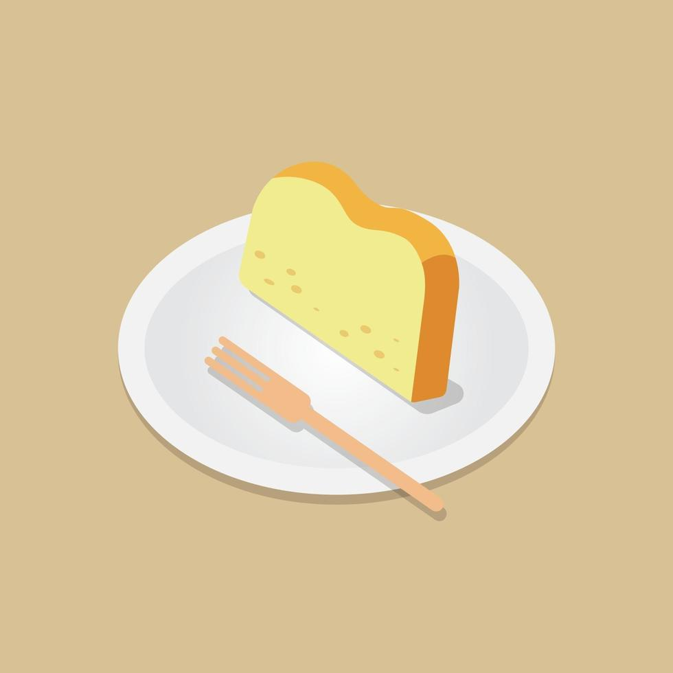 Sliced  butter cake with wooden fork on dish vector.Bakery meal concept.pound cake vector