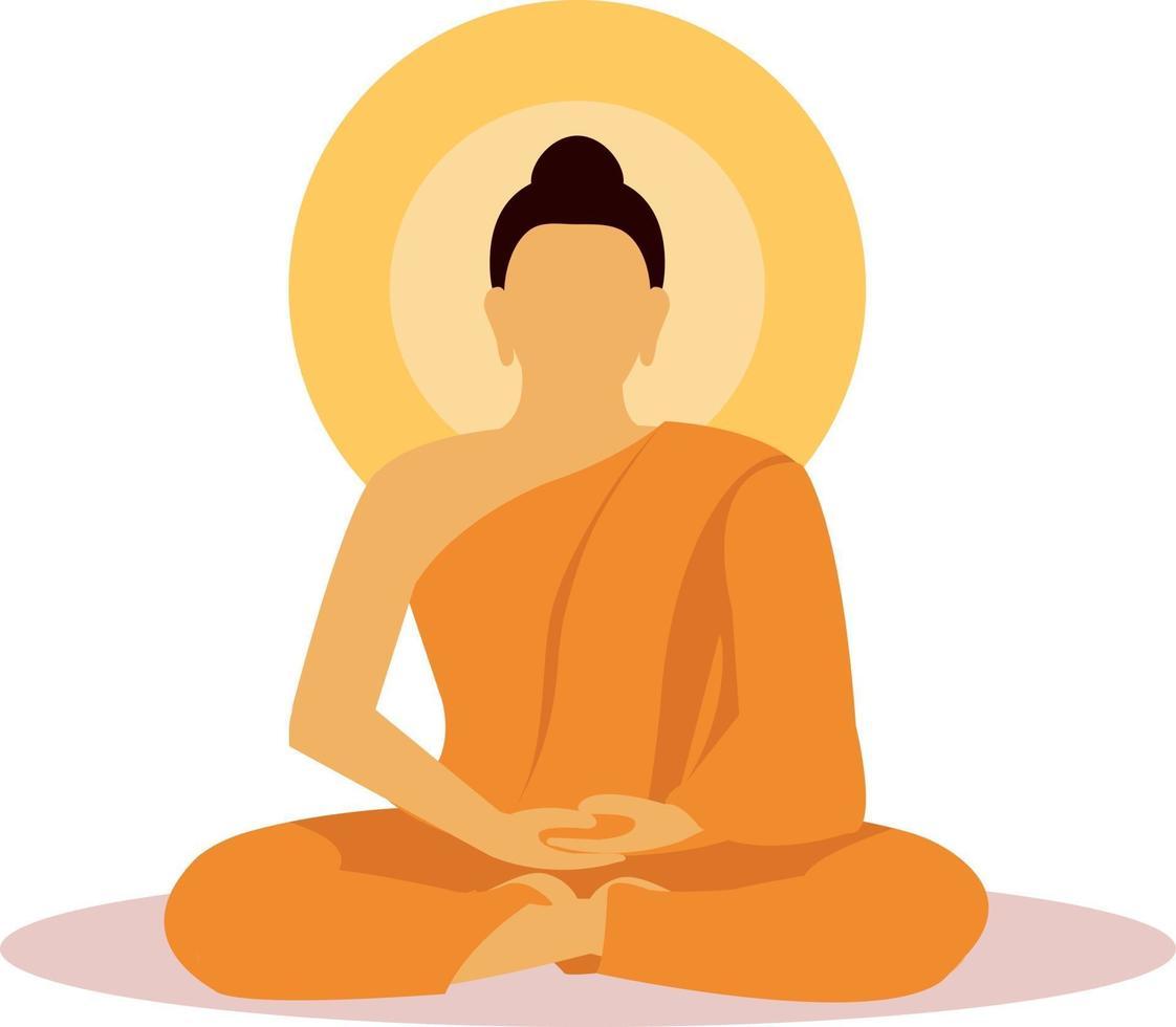 Buddhist monk in meditation in flat design vector. vector