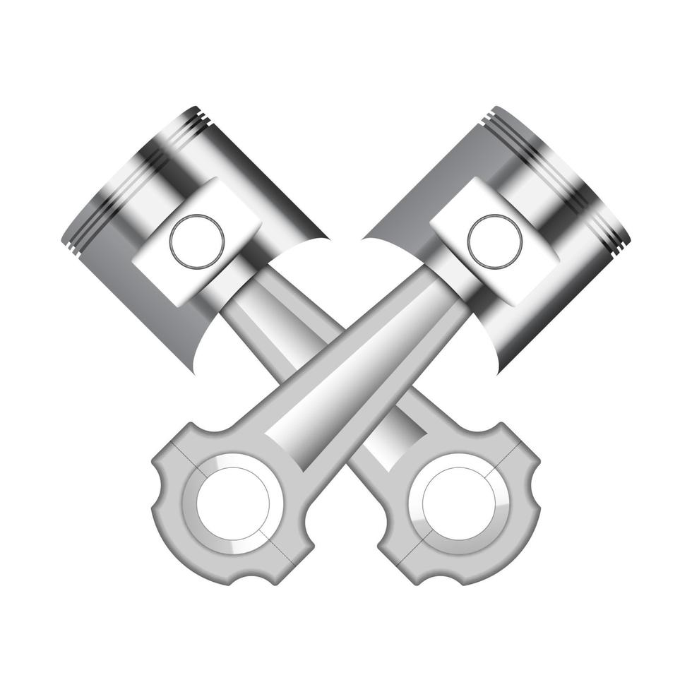 Two engine piston isolated on white background, vector illustration