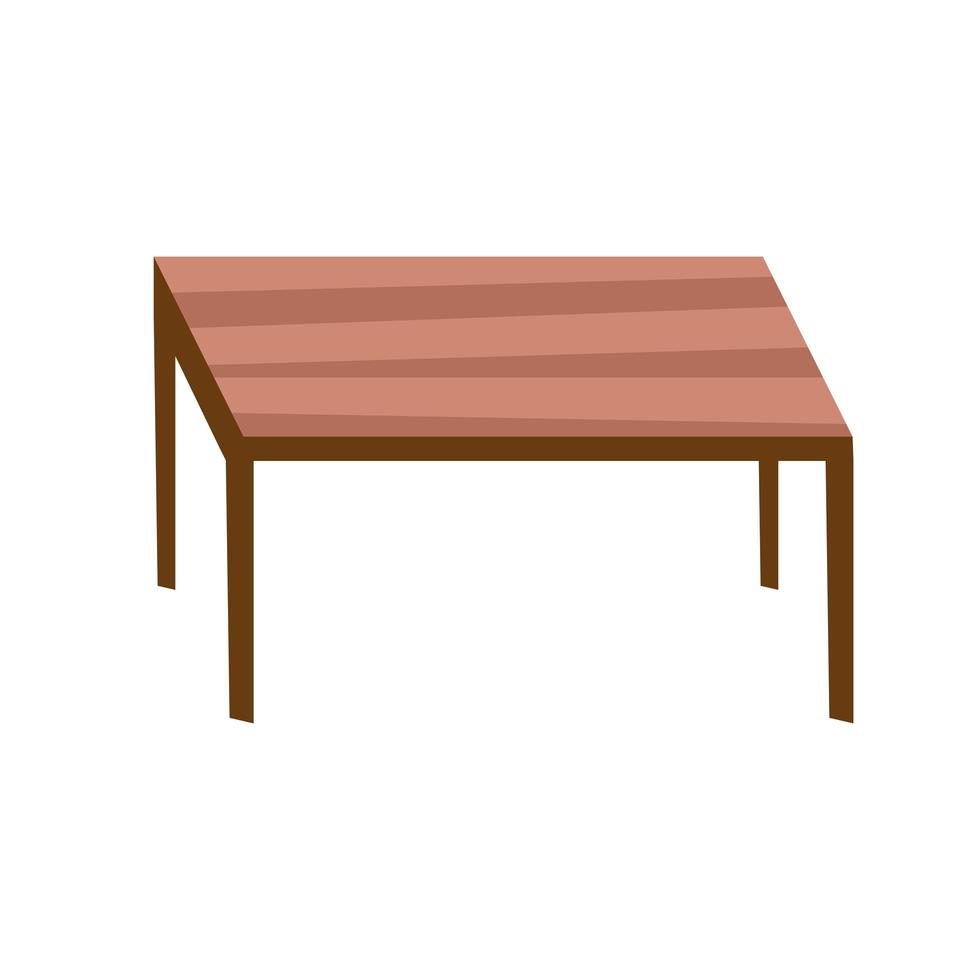 wooden table forniture isolated icon vector