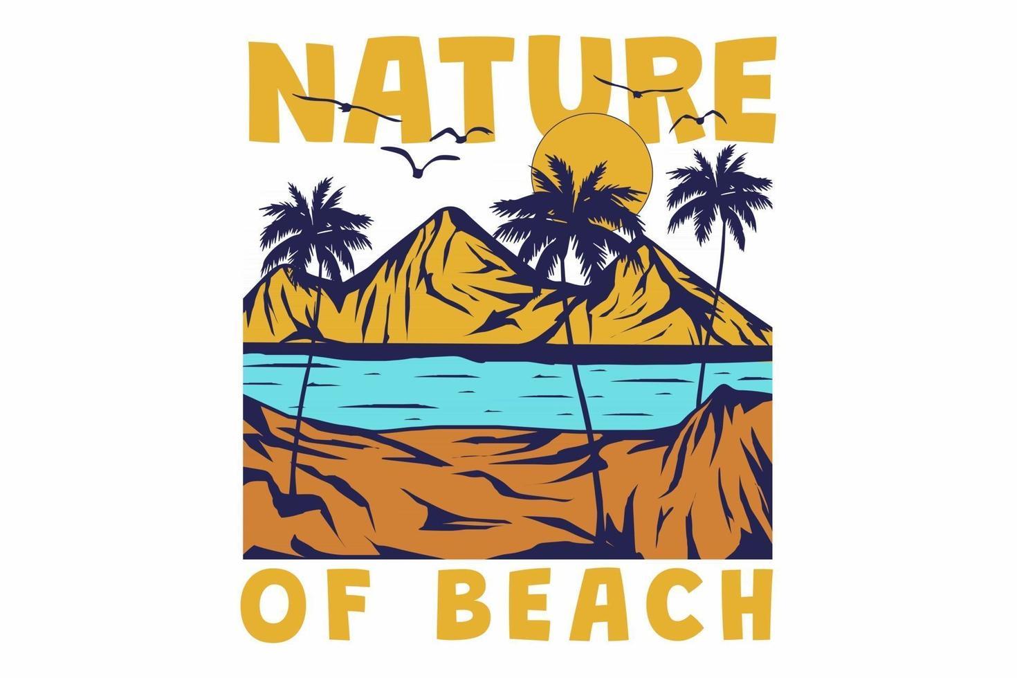 T-shirt retro beach mountain tree nature vintage style hand drawn vector