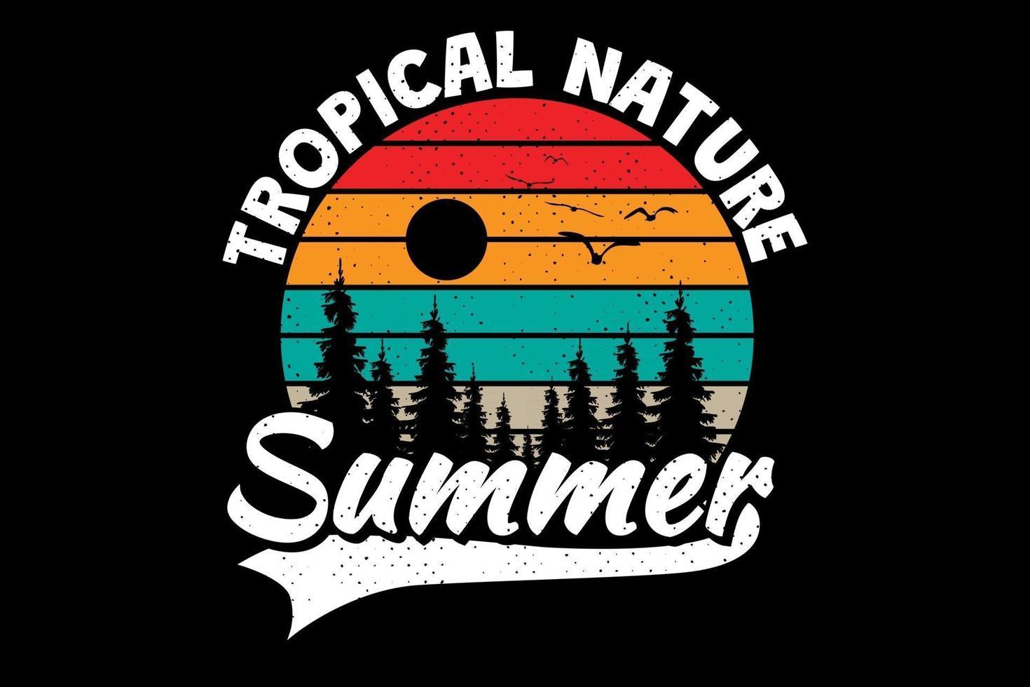 camiseta naturaleza tropical verano pino estilo retro vintage vector