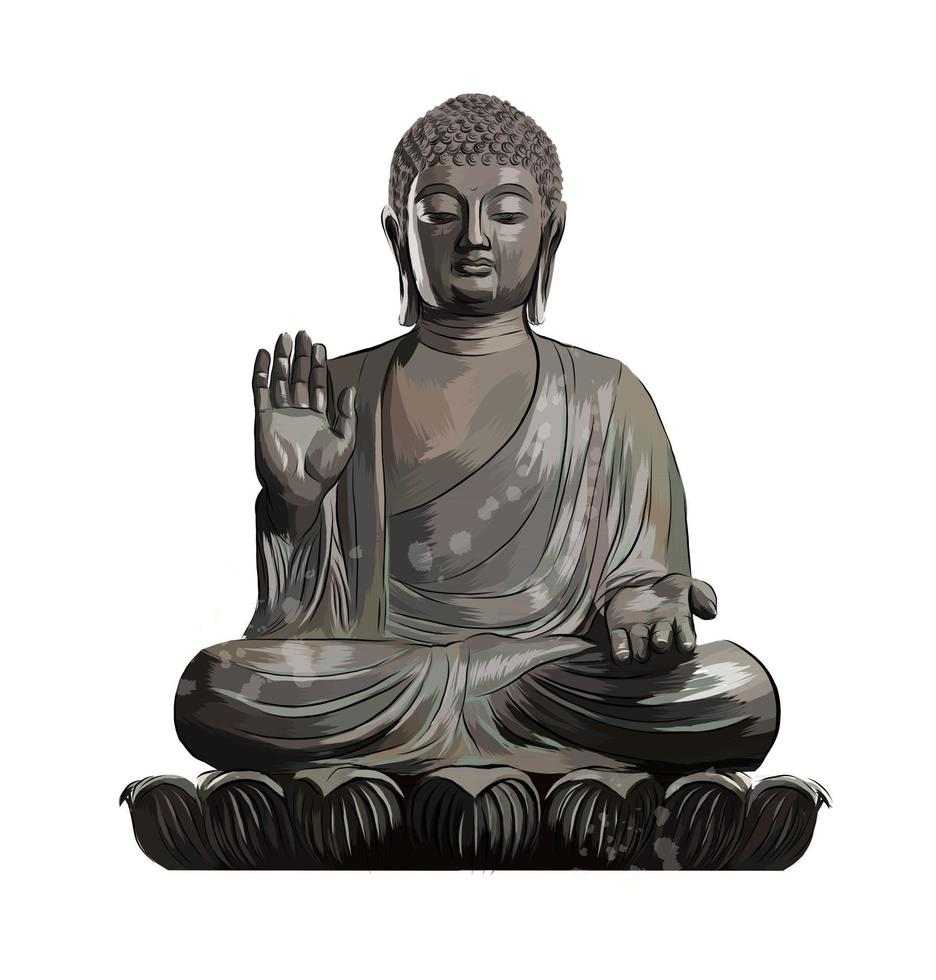 Buddha Statue from a splash of watercolor, colored drawing, realistic. Vector illustration of paints
