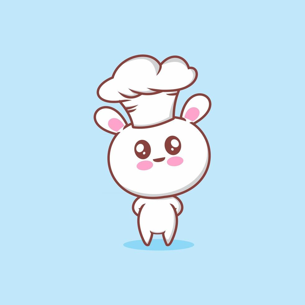 cute bunny with chef hat vector