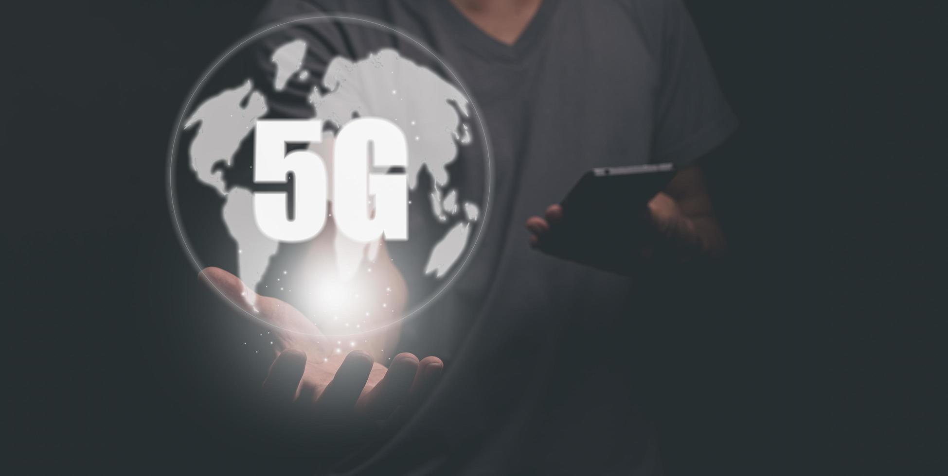 The 5G Signal Communication Worldwide illustration photo