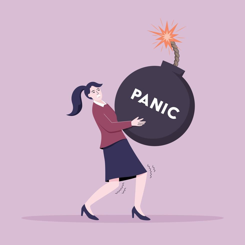 mujer joven, proceso de llevar, bomba de pánico vector