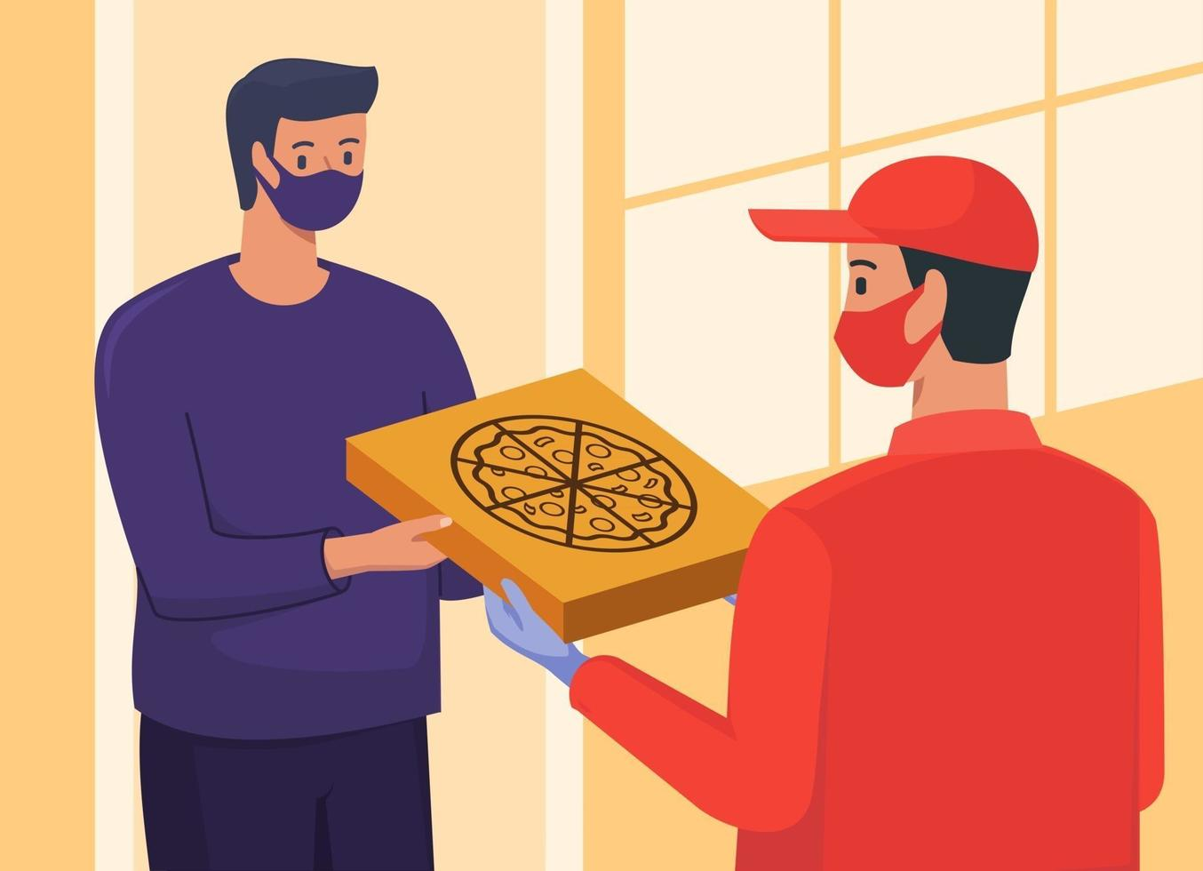 Delivery Man Giving Pizza to Customer at Home Door vector