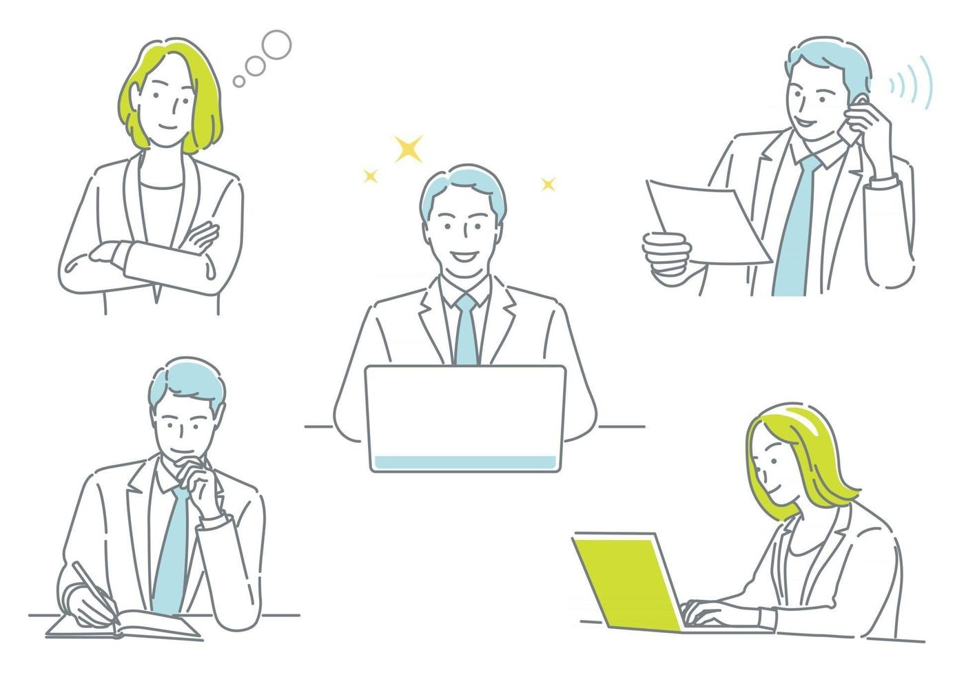 Businessman And Business Woman Working In Their Office Expressing Different Emotions Isolated On A White Background Set vector