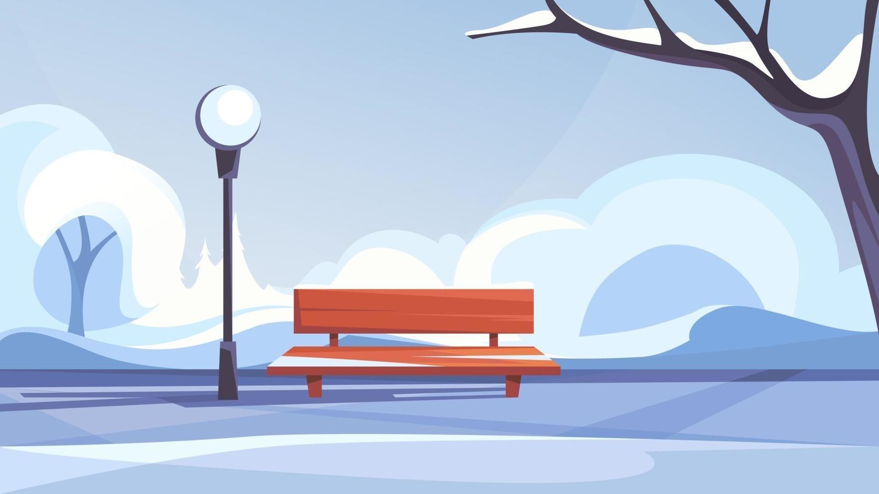 Winter public park. vector
