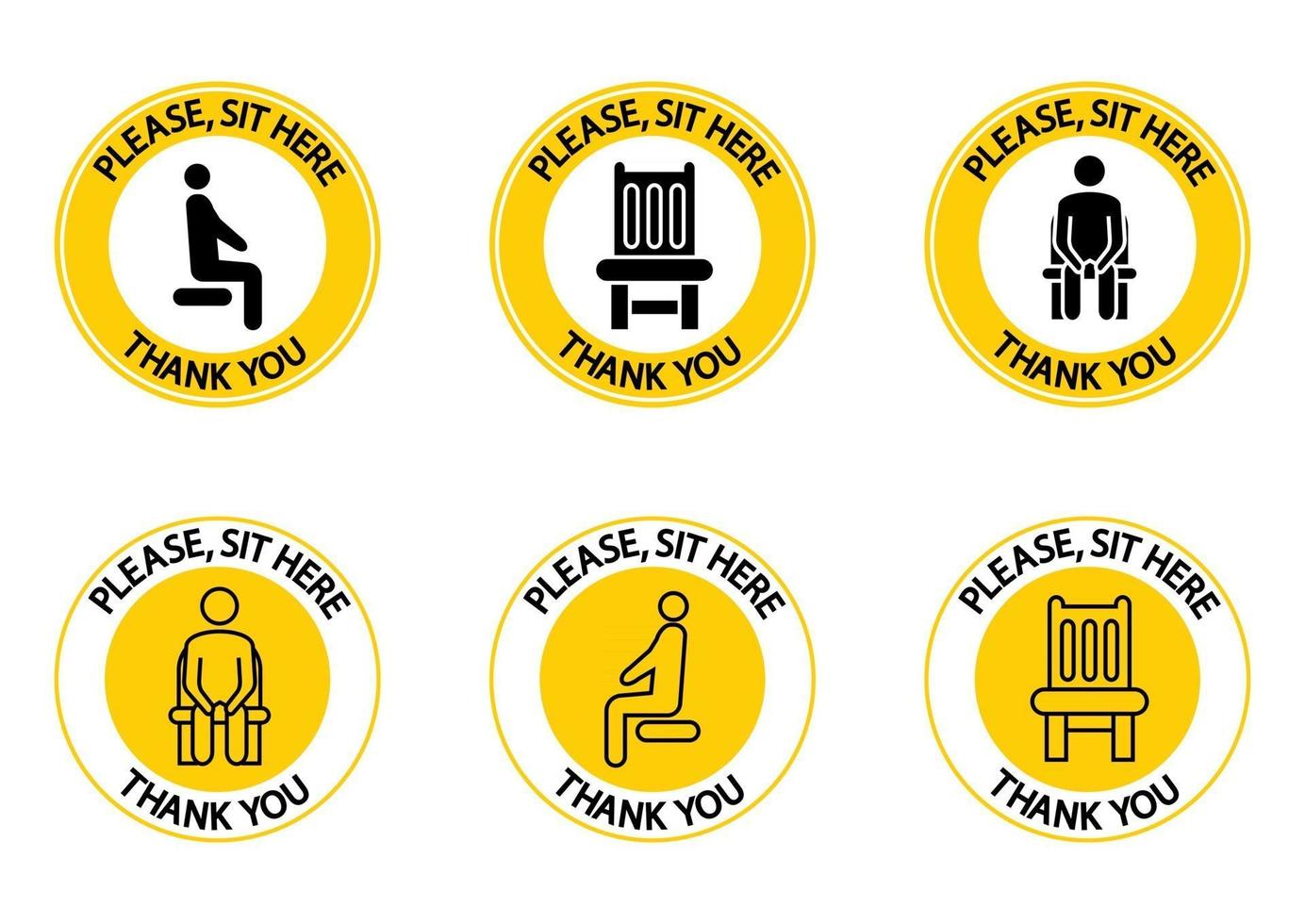 Please, sit here. You can sit here. Sitting icons. Prohibition sign. Lockdown rule. Sit on this chair. Keep your distance when you are sitting. Coronavirus prevention, icons. Vector