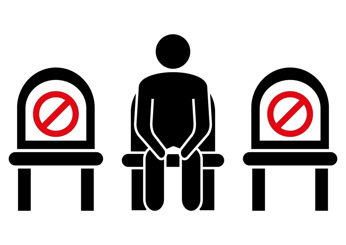 Do not sit here. Keep social distance to prevent infection with the coronavirus. Distancing sitting. Keep your distance when you are sitting. Man on the chair. Glyph icon. Vector