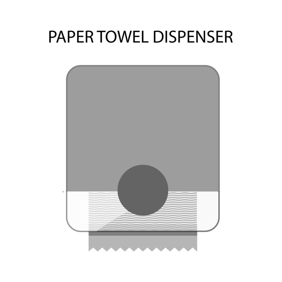 Towel dispenser. Hand pulling paper towel in the bathroom. Wall mounted automatic realistic dispenser with sensor. Restroom equipment. Drying hands safely. Vector