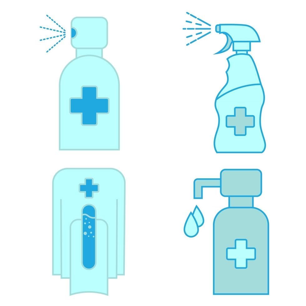 Hand sanitizer container icon set. Washing alcohol gel. Waterless hand cleaner. Hand washing. Contactless automatic soap dispenser. Disinfectant. Touchless soap dispenser. Vector