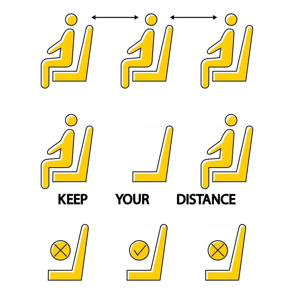 Keep your distance. Do not sit here. Forbidden icon for seat. Social distance in a public space. Prohibition sign. Lockdown rule. Keep your distance when you are sitting. Man on the chair vector