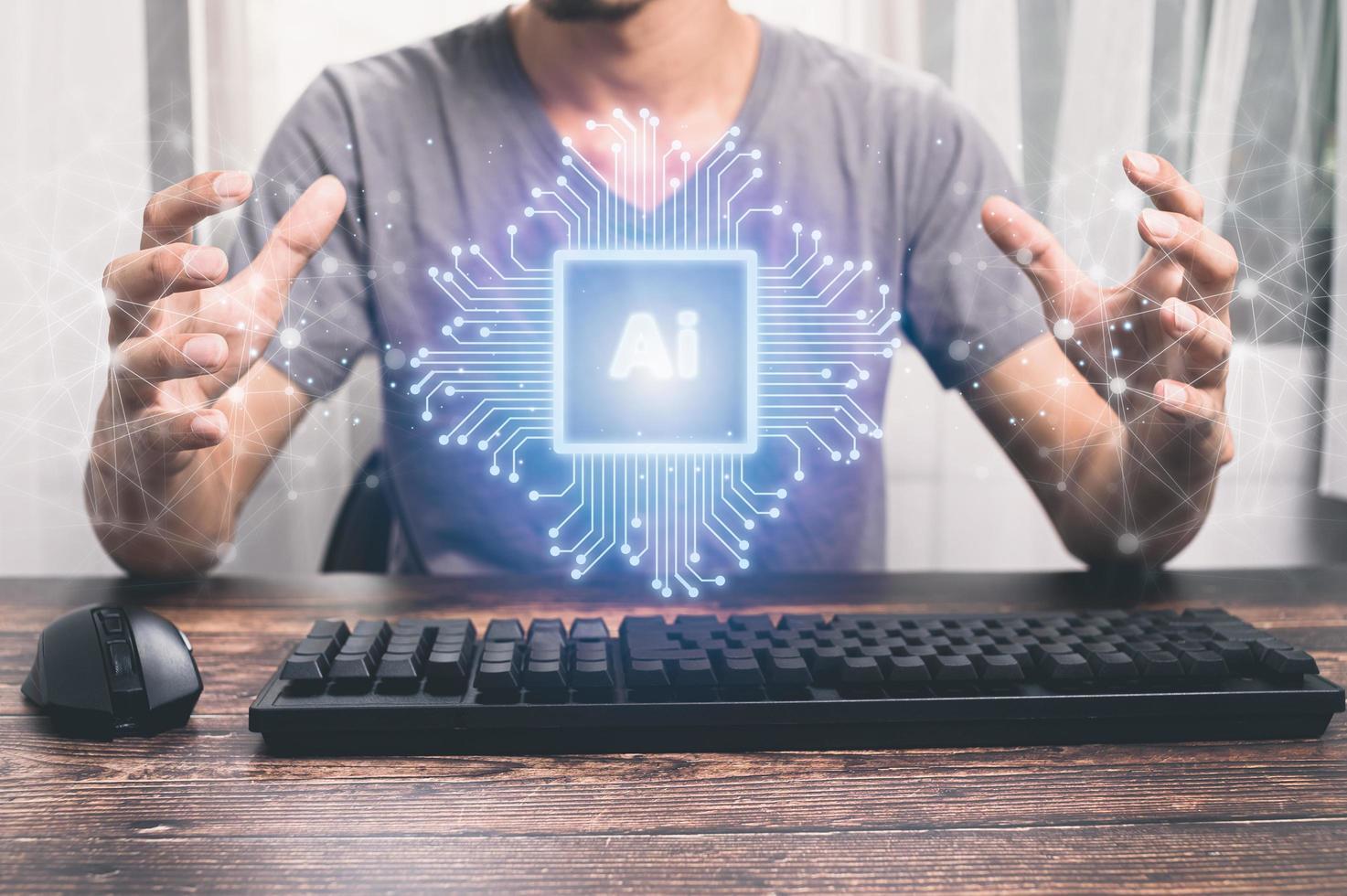 Icons, electronic chips and AI symbols illustration photo