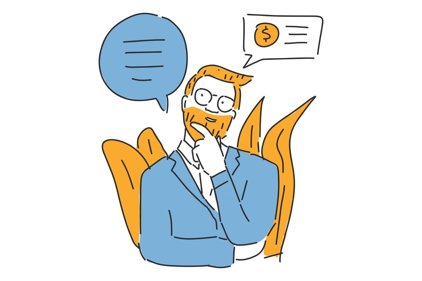 hombre pensando en ilustración de negocios dibujar a mano 2753157 Vector en Vecteezy