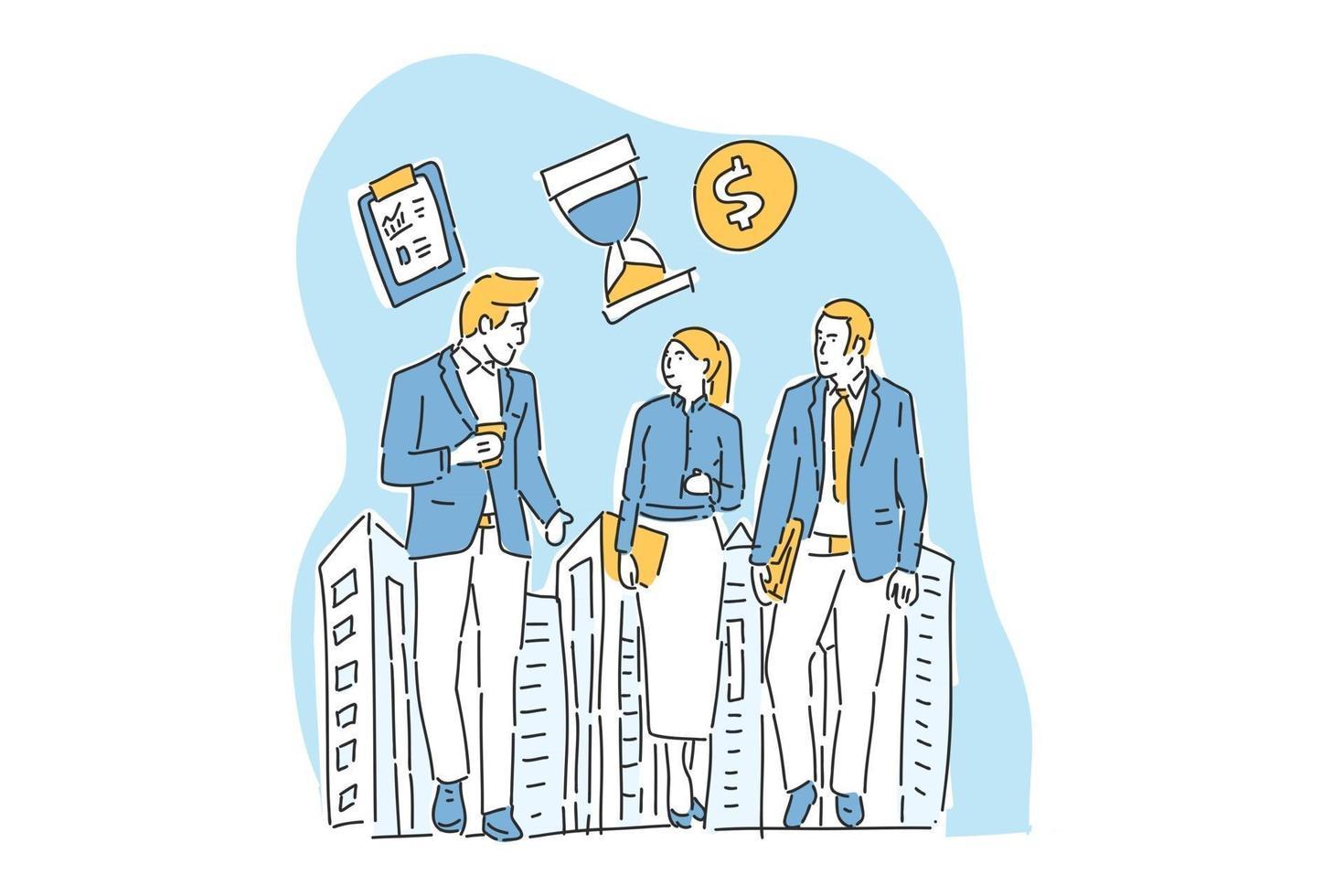 three businessmen meet up illustration hand draw vector