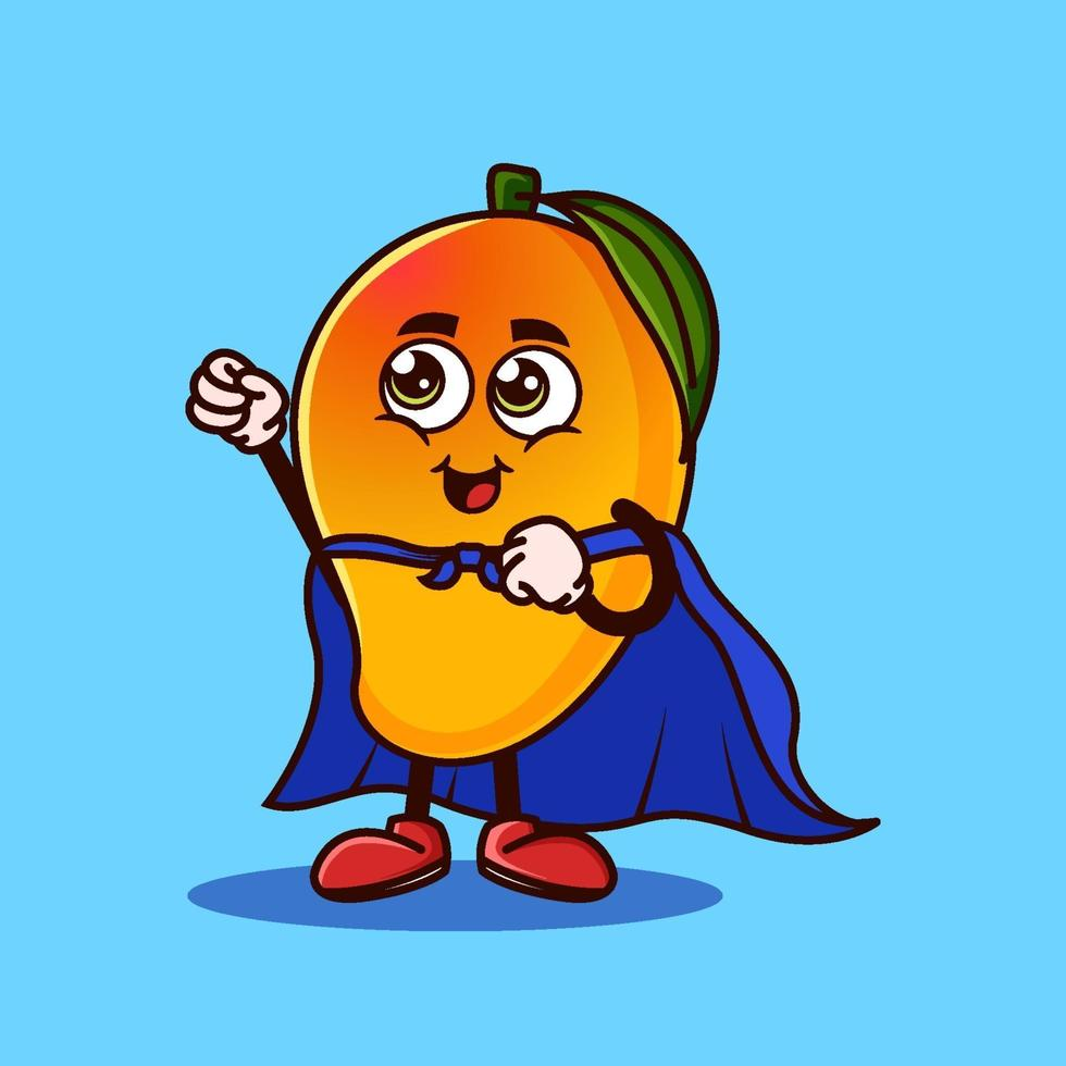 Cute Mango fruit character with Super hero costume and trying to fly. Fruit character icon concept isolated. Emoji Sticker. flat cartoon style Vector