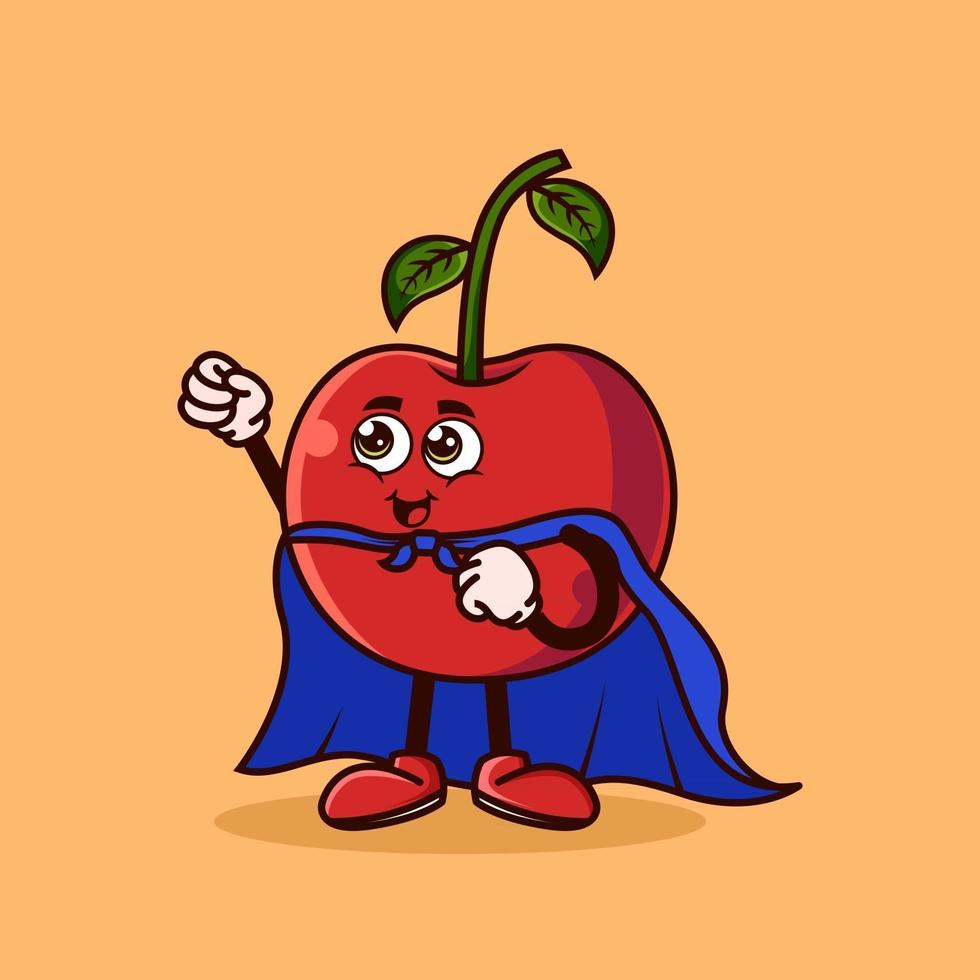 Cute Cherry fruit character with Super hero costume and trying to fly. Fruit character icon concept isolated. Emoji Sticker. flat cartoon style Vector