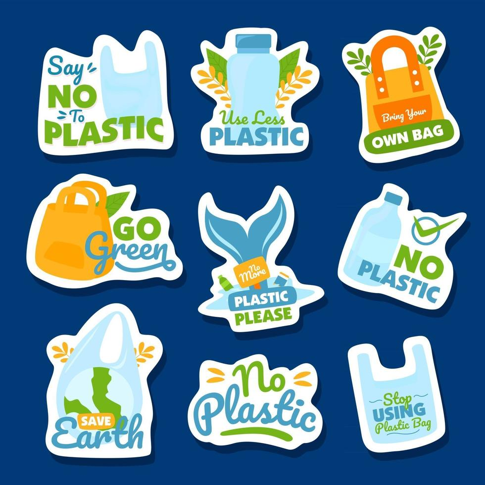 No Plastic Sticker Colletion vector