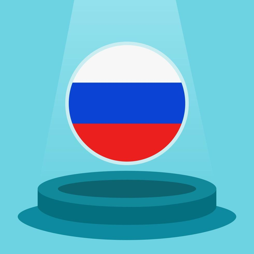 Flag of Russia on the podium. Simple minimalist flat design style. Ready to use for the football event etc. vector