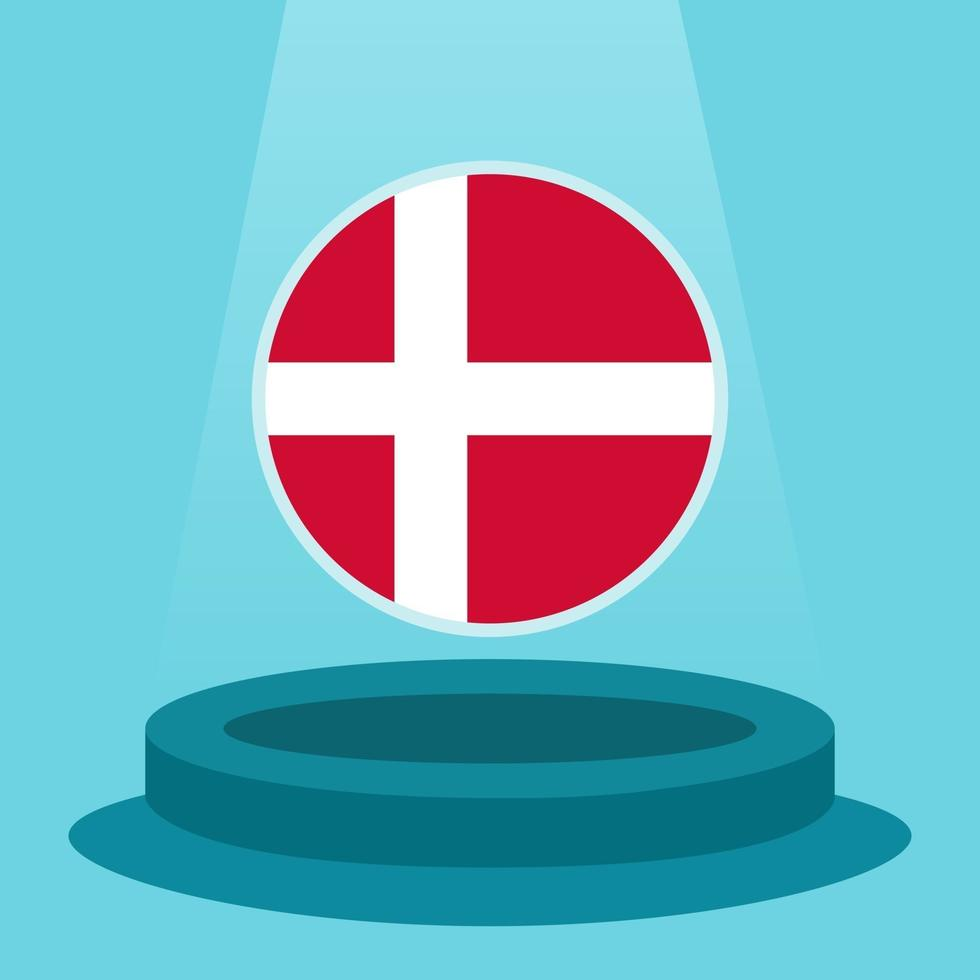 Flag of Denmark on the podium. Simple minimalist flat design style. Ready to use for the football event etc. vector