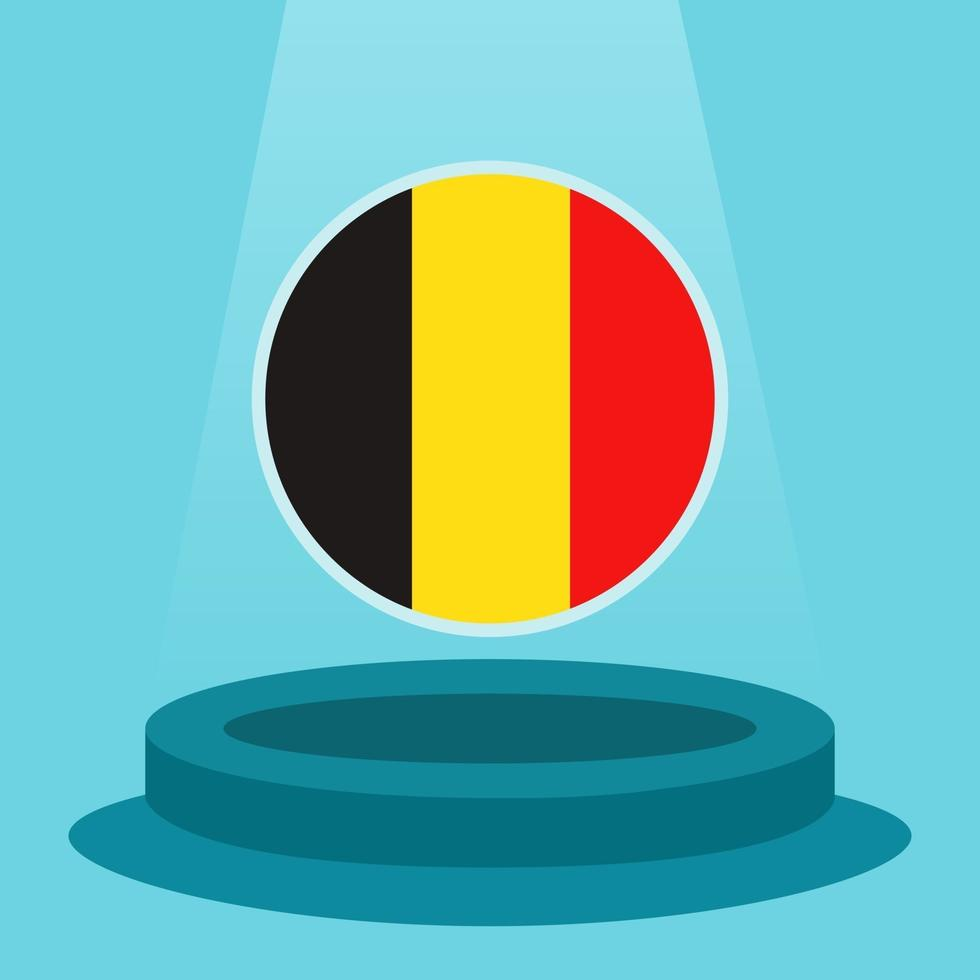 Flag of Belgium on the podium. Simple minimalist flat design style. Ready to use for the football event etc. vector