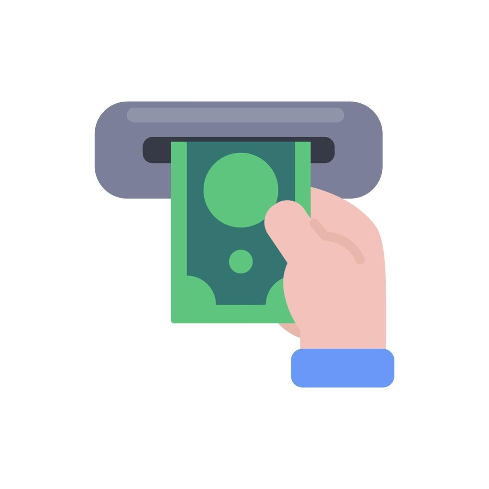Hand holding cash. The concept of withdrawing cash from a cash machine with a credit card. vector