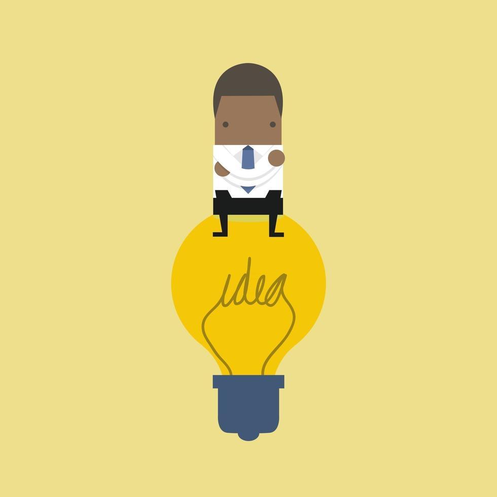 African businessman sitting on idea bulb. vector