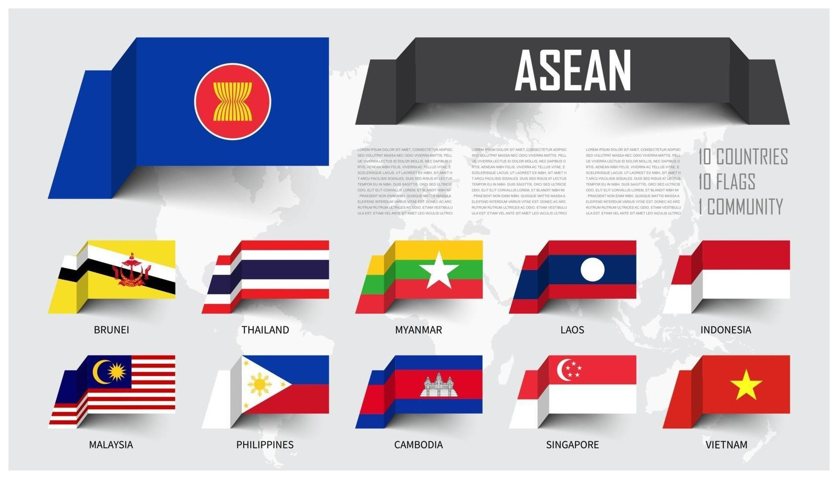 ASEAN . Association of Southeast Asian Nations . And membership . floating paper flags design . World map background . Vector .