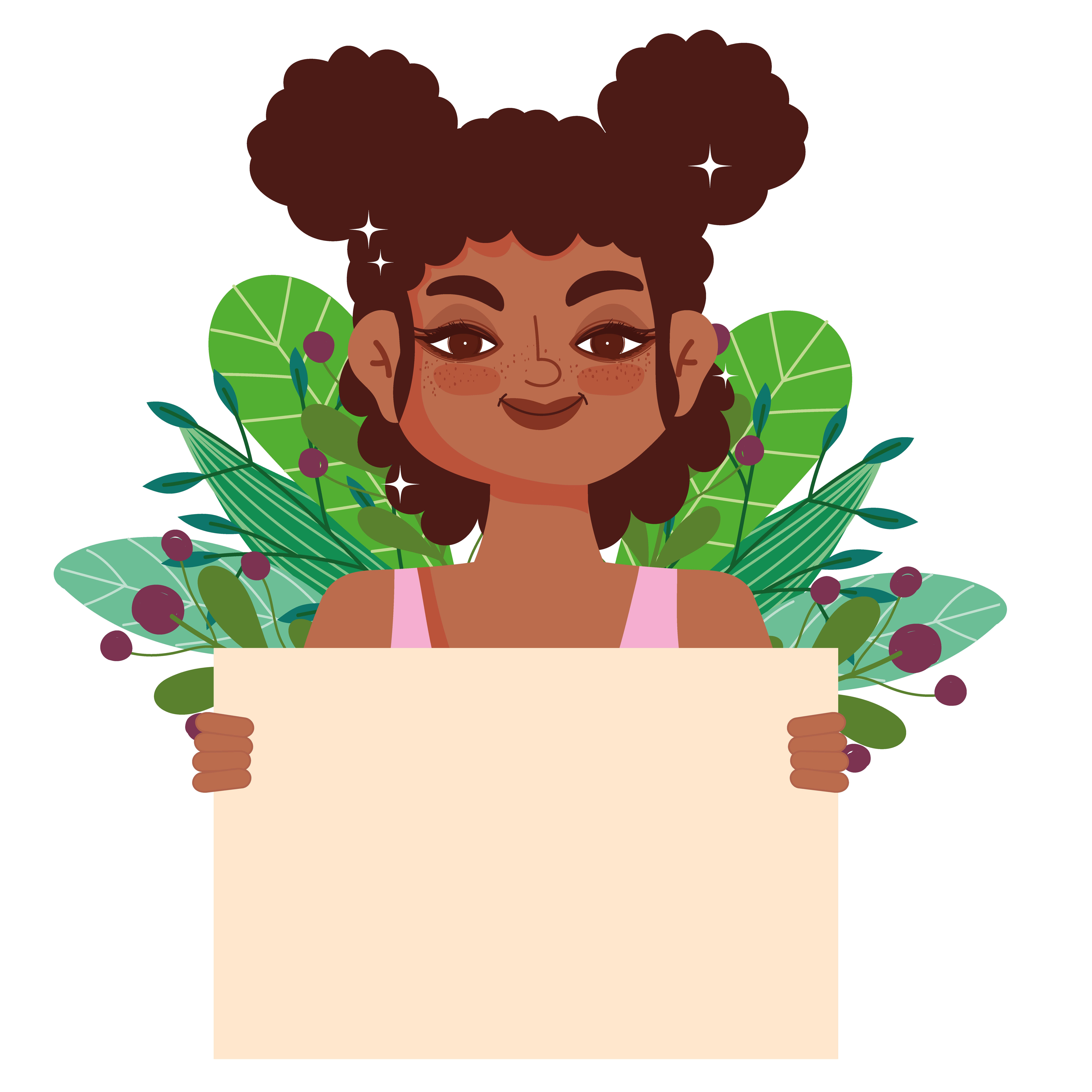 Cartoon afro girl with Cartoon 'The