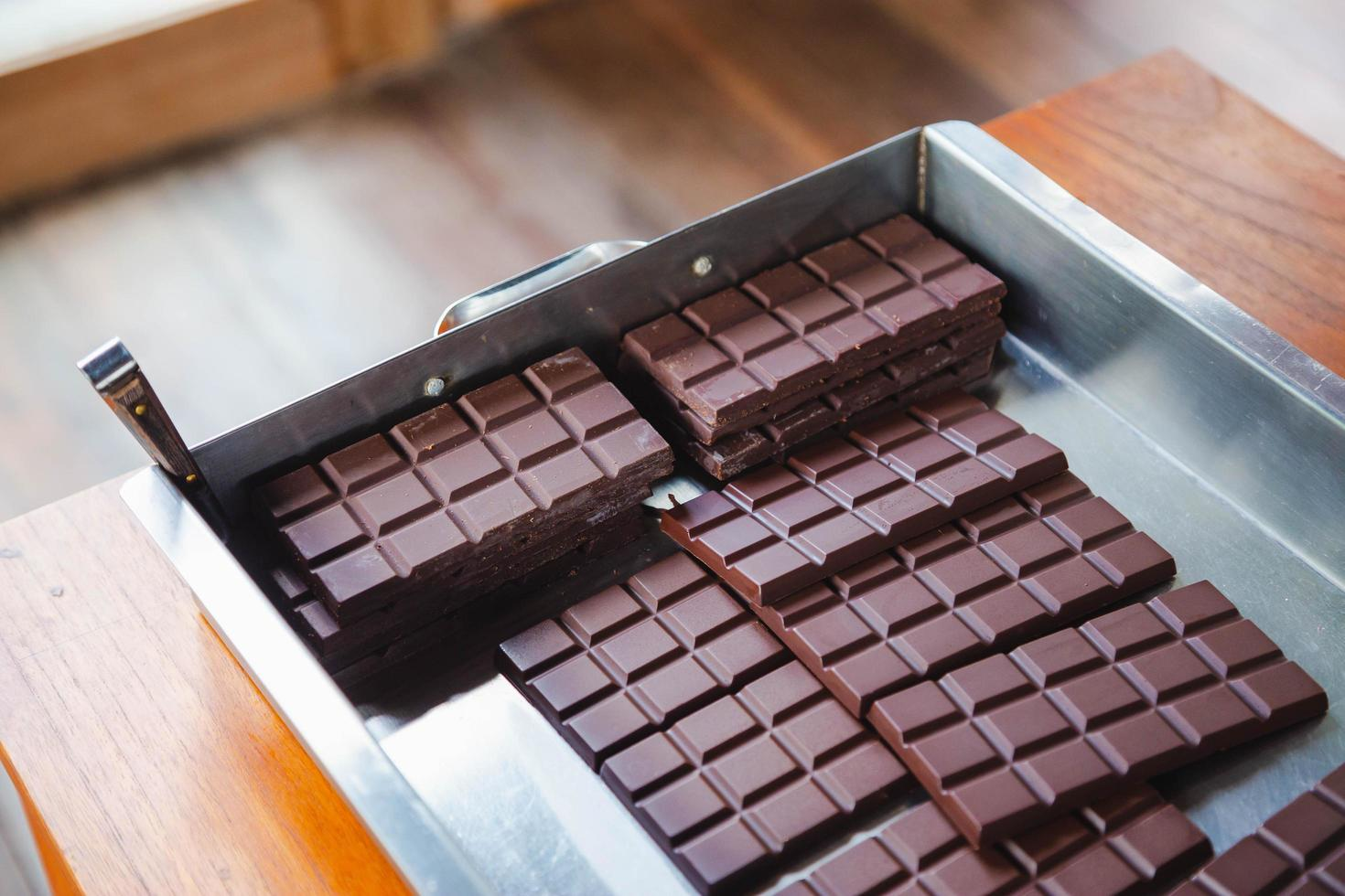 Homemade dark chocolate and cocoa photo