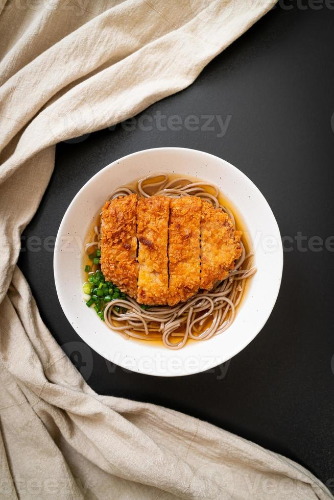 Soba ramen noodle with Japanese fried pork cutlet photo