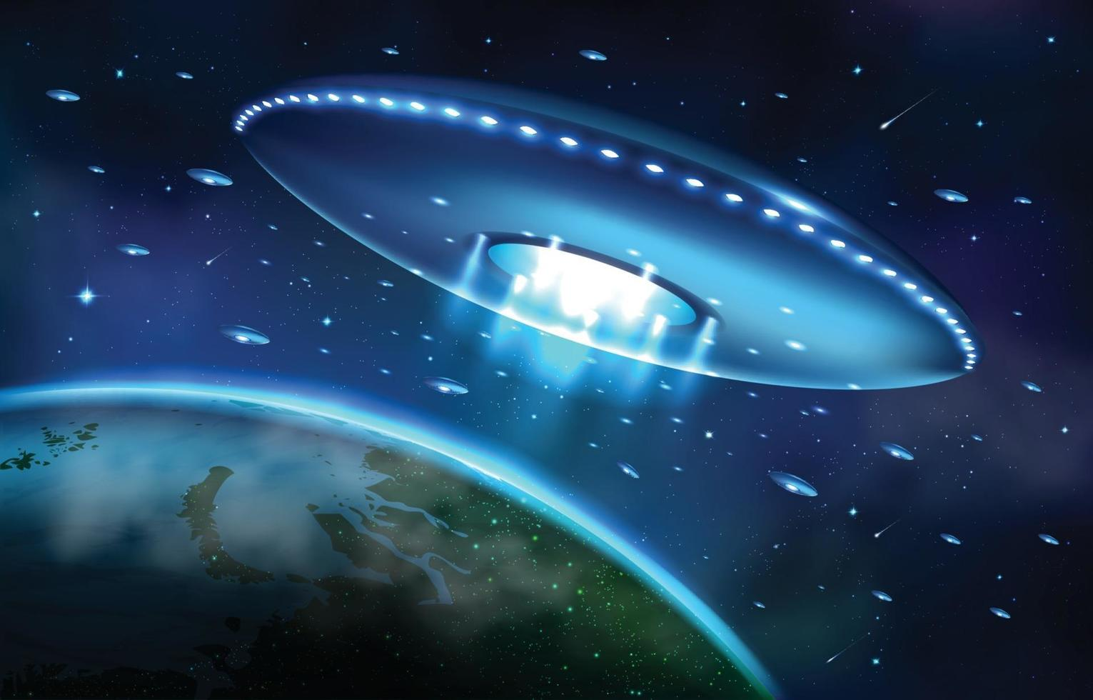 Alien Invasion on Earth with UFO Mothership Concept vector