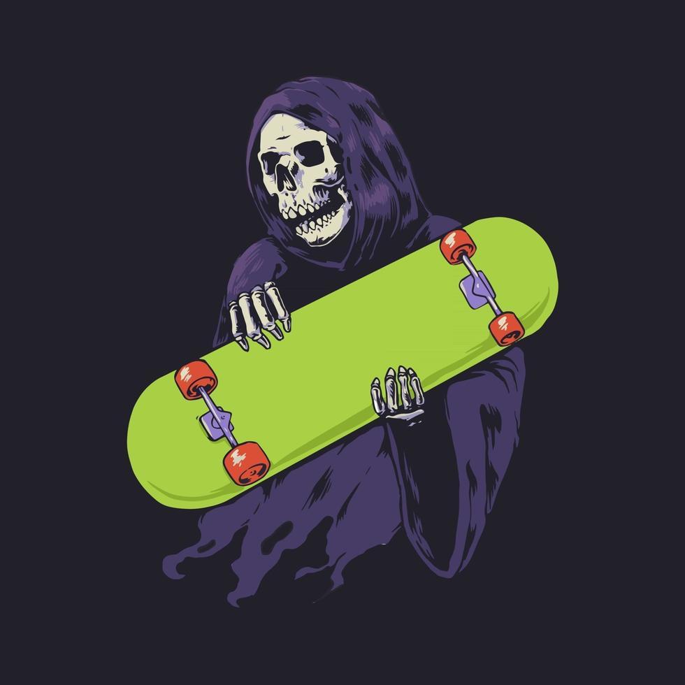Grim reaper hold skateboard vector
