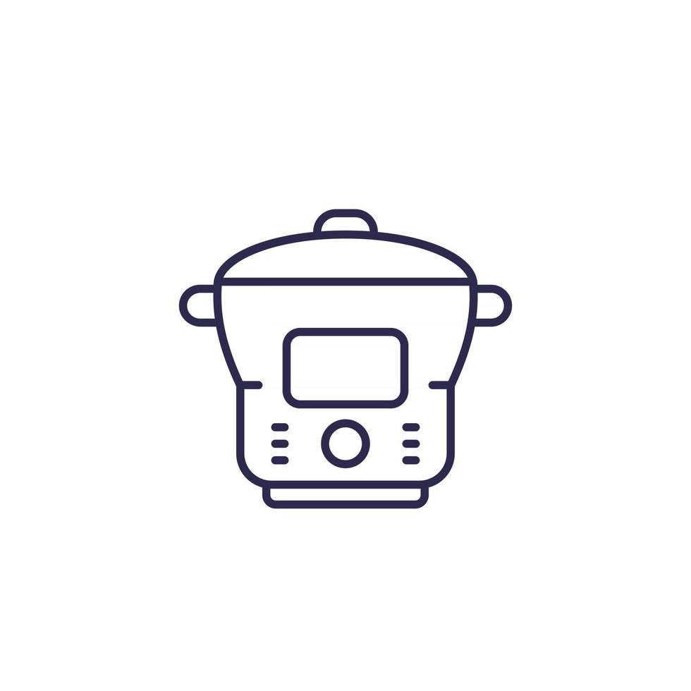 electric cooker, steamer, vector line icon