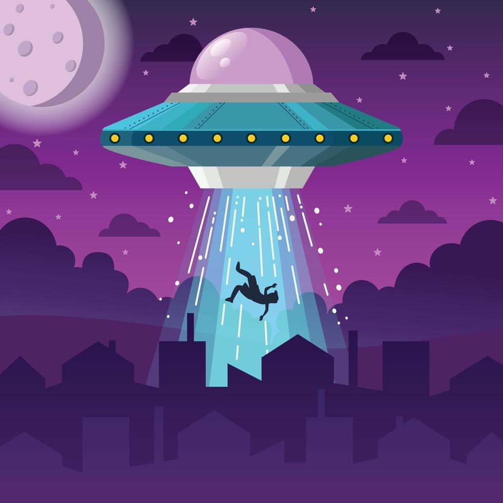 UFO Spaceship Abducts Man at nNght vector
