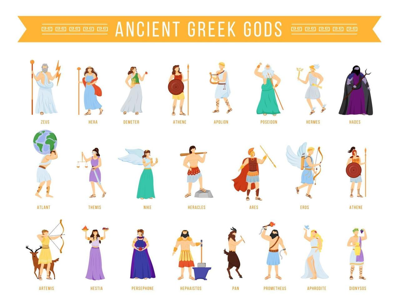 Ancient Greek Pantheon Gods And Goddesses Flat Vector Illustrations Set Titans And Heroes Mythology Olympian Deities Divine Mythological Figures Isolated Cartoon Characters 2778073 Vector Art At Vecteezy