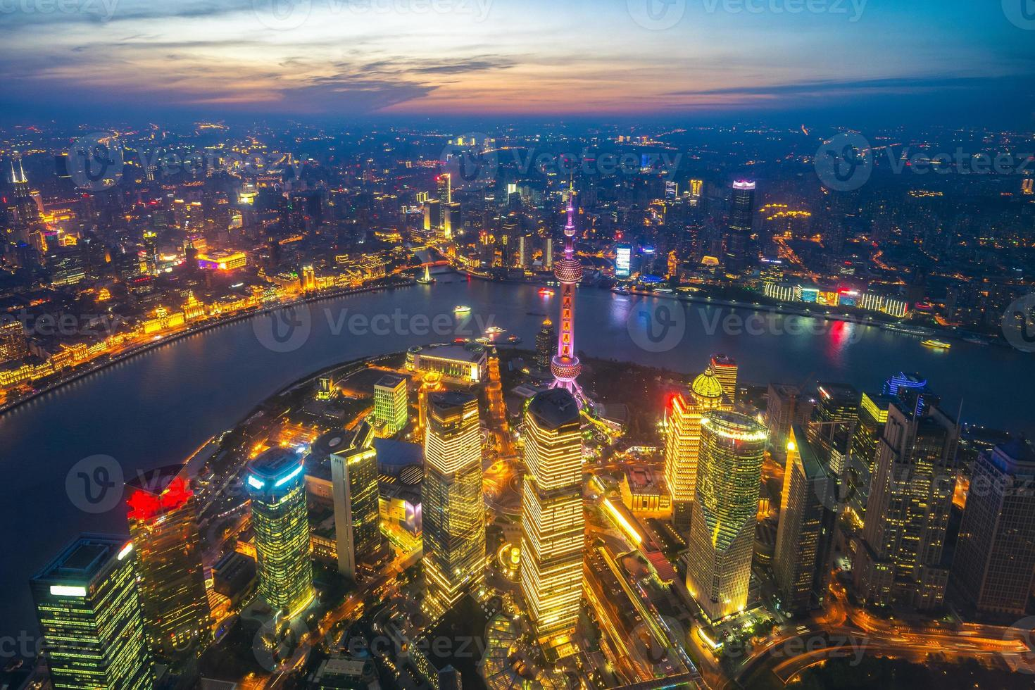 Aerial view of Shanghai by sunset, China photo