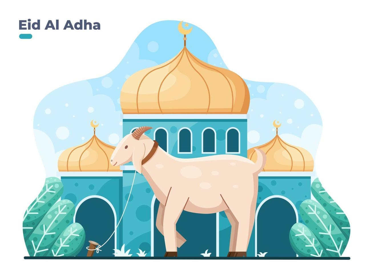 eid al adha flat vector illustration with goat or sheep animal in front of mosque selamat hari raya idul adha means happy eid aladha also called sacrifice festival
