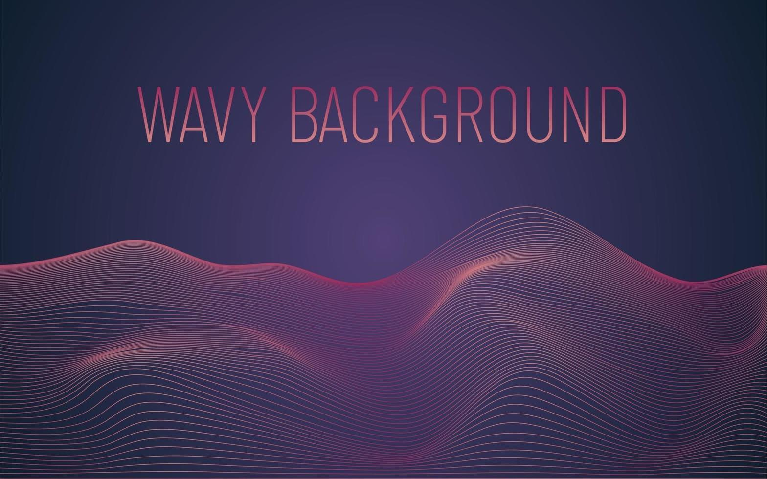 Wavy geometric gradient background with shaped lines vector
