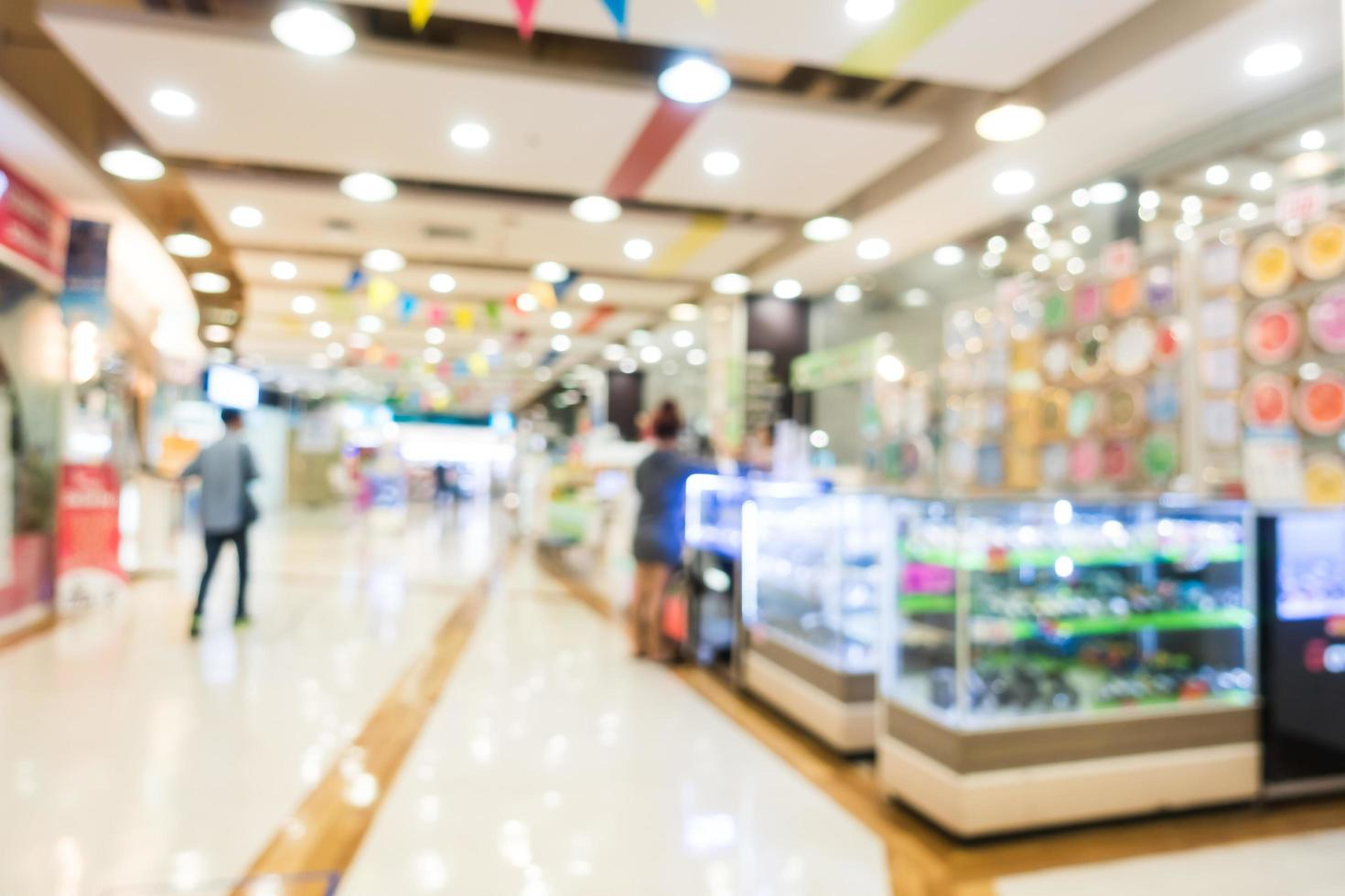 Abstract blur and bokeh shopping mall and retails store photo