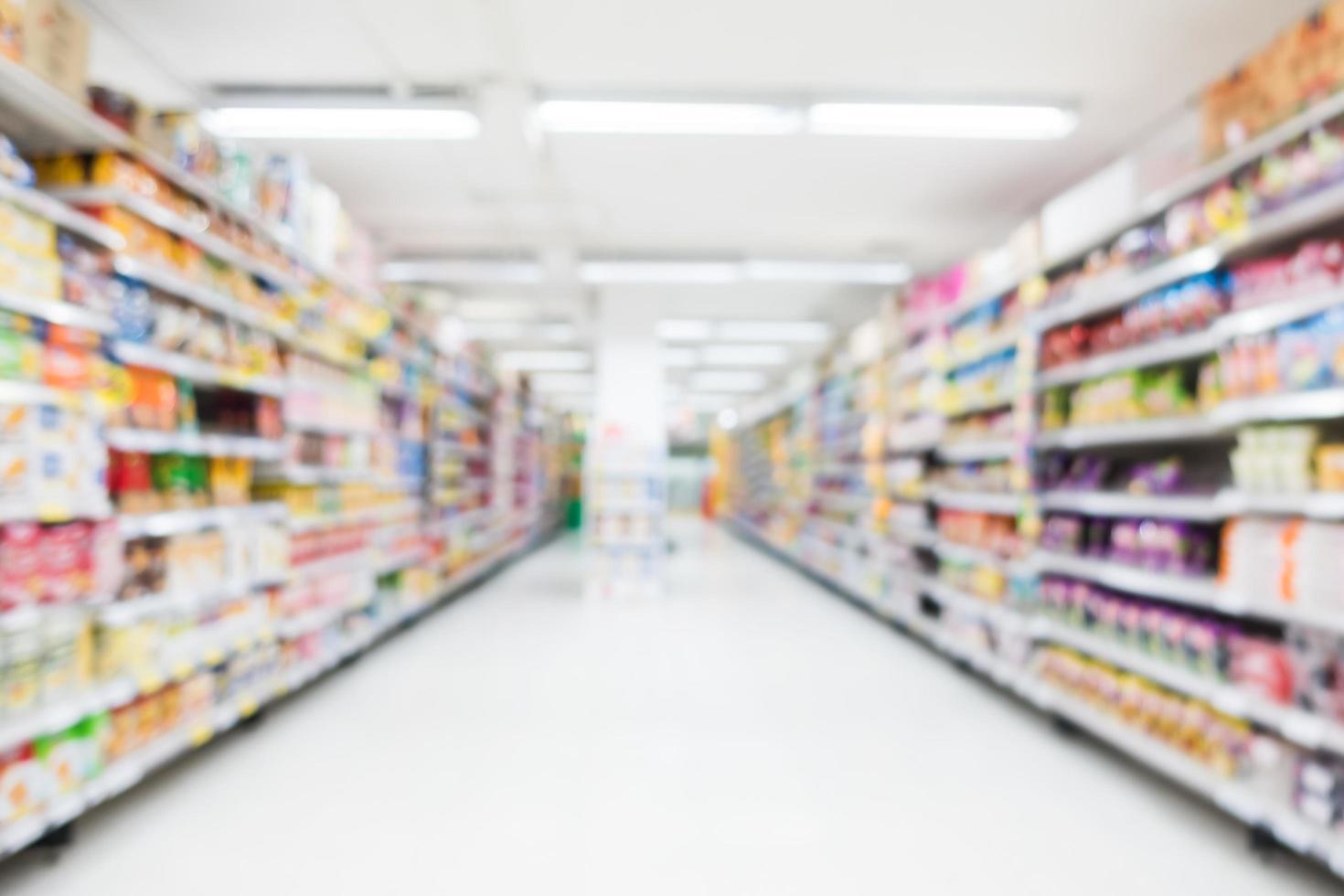 Desenfoque abstracto y bokeh interior de supermercado y tienda de descuento foto