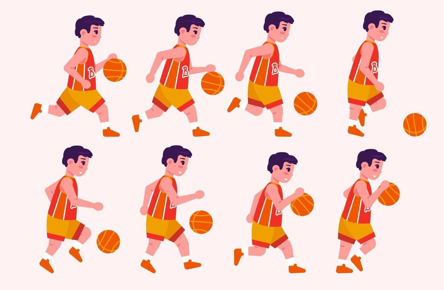 Boy playing basketball animated frames set vector