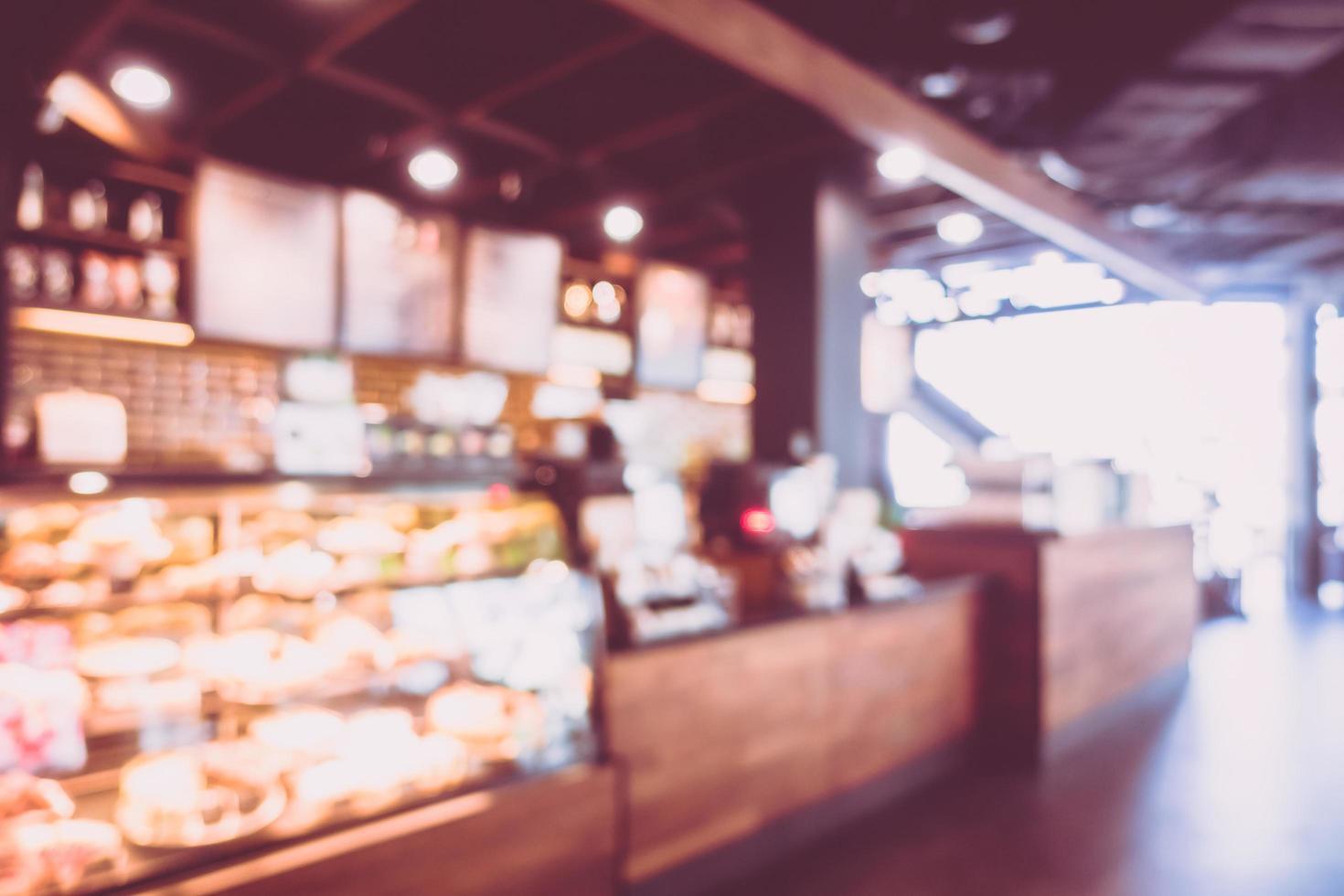 Desenfoque abstracto y cafetería interior de café para el fondo foto