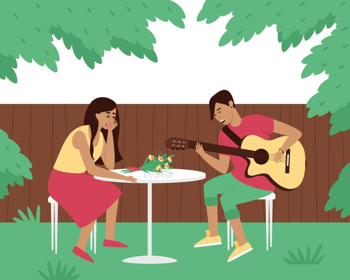 The guitarist plays a serenade in the yard of his woman vector