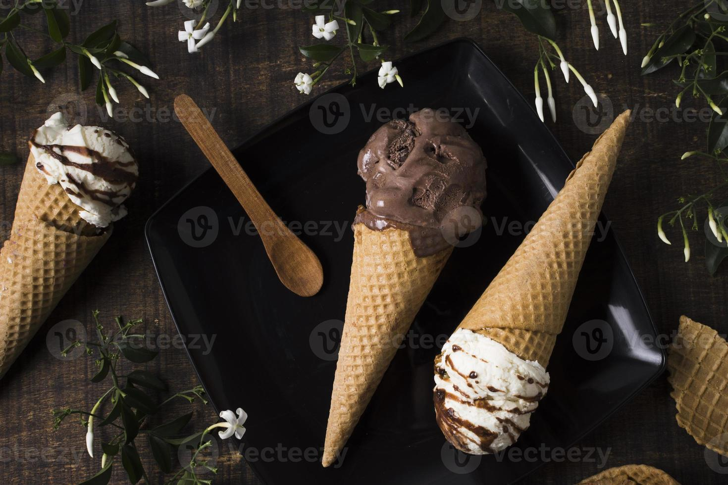 Top view homemade ice cream cones with chocolate. High quality beautiful photo concept